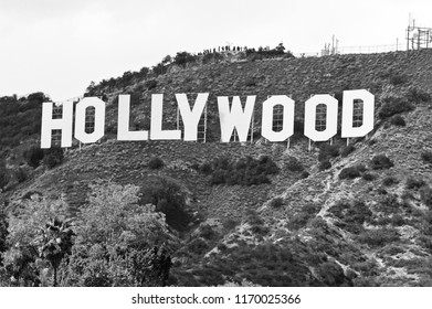 HOLLYWOOD/CALIFORNIA - MARCH 25, 2018: Hollywood Sign. World famous landmark and American cultural icon on Mount Lee in Hollywood Hills area of the Santa Monica Mountains. Hollywood, California USA