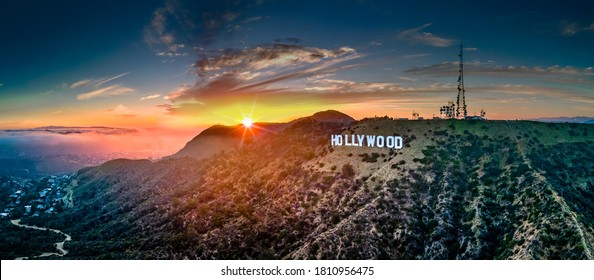 Hollywood,CAUS-06152020:Los Angeles Hollywood sign with sun-burst