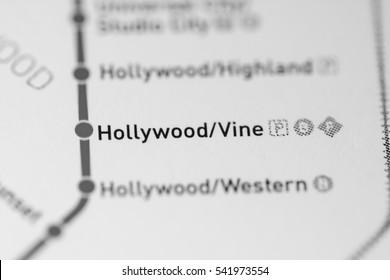 Hollywood/Vine Station. Los Angeles Metro map.
