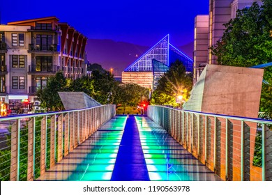 Holmberg Glass Bridge and Skyline in Downtown Chattanooga Tennessee TN