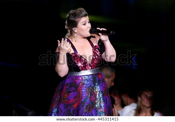 HOLMDEL, NJ-JUL 14: Recording artist Kelly Clarkson performs during her 'Piece by Piece' Tour at PNC Bank Arts Center on July 14, 2015 in Holmdel, New Jersey.