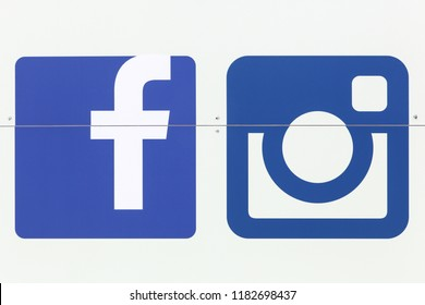 Holme, Denmark - June 23, 2018: Facebook logo and instagram logo on a wall