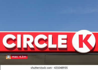 Holme, Denmark - June 3, 2016: Circle K is an international chain of convenience stores, founded in 1951 in USA. Circle K announced that the Statoil brands will be converted to the Circle K brand