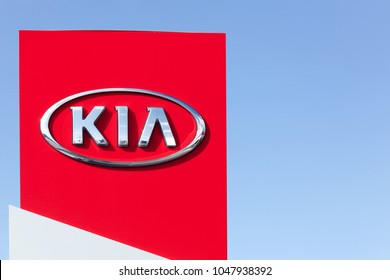 Holme, Denmark - September 20, 2015: Kia Motors sign on a panel of a dealership. Kia Motors Corporation headquartered in Seoul, is South Korea's second largest automobile manufacturer