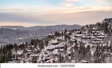 Holmenkollen neighborhood. The photo was taken from the top of the Holmenkollen ski jump tower.