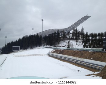 Holmenkollen, Norway - April 15 2013 : Olympic ski jumping hill over Oslo on a gray late Winter day
