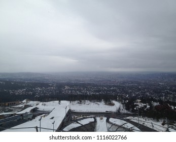 Holmenkollen, Norway - April 16 2013 : Plunging view on Oslo from the modern ski jumping hill