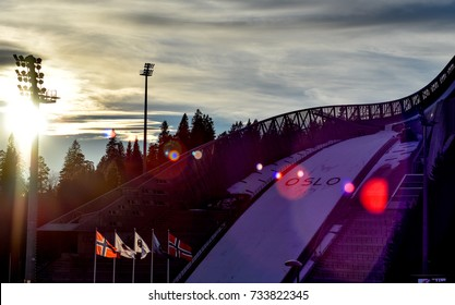 Holmenkollen, Norway - MARCH 17, 2017: The view on the skill jumping hill in Holmenkollen