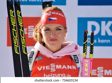 Holmenkollen, Norway - MARCH 18, 2017: Gabriela Koukalova of Czech celebrates second place in the pursuit at the BMW IBU World Cup Biathlon 9