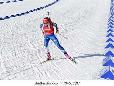 Holmenkollen, Norway - MARCH 18, 2017: Gabriela Koukalova of Czech competes in the pursuit at the BMW IBU World Cup Biathlon 9