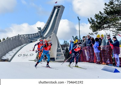 Holmenkollen, Norway - MARCH 18, 2017: Marie Dorin Habert of France competes in the pursuit at the BMW IBU World Cup Biathlon 9