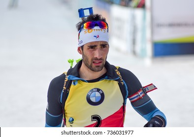 Holmenkollen, Norway - MARCH 18, 2017: Martin Fourcade of France competes in the pursuit at the BMW IBU World Cup Biathlon 9