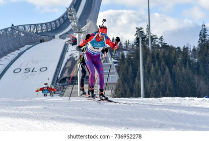 Holmenkollen, Norway - MARCH 18, 2017: Lowell Bailley of USA competes in the pursuit at the BMW IBU World Cup Biathlon 9