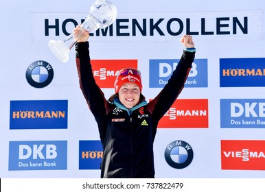 Holmenkollen, Norway - MARCH 19, 2017: Laura Dahlmeier of Germany gets big crystal globe in the biathlon total score at the BMW IBU World Cup Biathlon 9