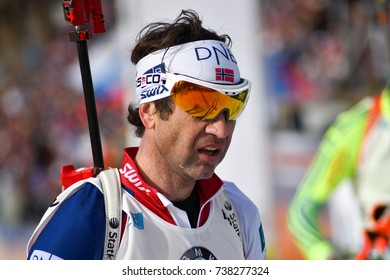 Holmenkollen, Norway - MARCH 19, 2017: Ole Einar Bjoerndalen of Norway competes in the mass start at the BMW IBU World Cup Biathlon 9