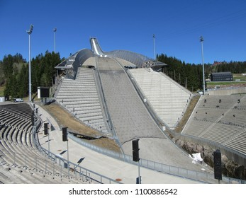 Holmenkollen, Oslo, Norway on 09.05.2018: Holmenkollen ski-jumping hill and winter sports center in the Norwegian capital on a sunny summer day
