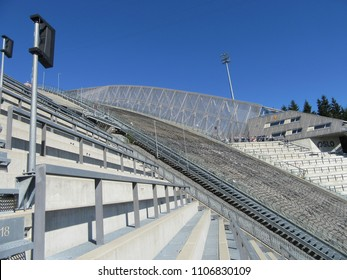 Holmenkollen, Oslo, Norway on 09.05.2018: Ski-jumping hill at Holmenkollen near Oslo in Norway