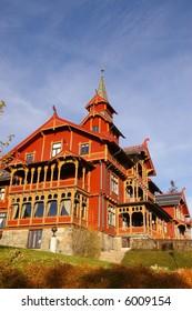 Holmenkollen Park Hotel in Oslo, Norway. Built in 1894 in the distinctive Dragonstyle architecture