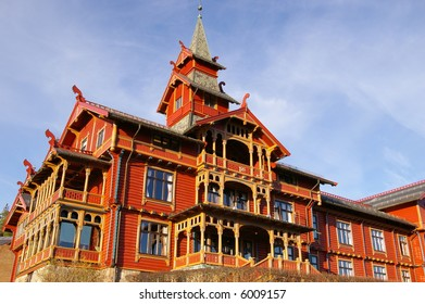Holmenkollen Park Hotel in Oslo, Norway. Built in 1894 in the distinctive Dragonstyle architecture
