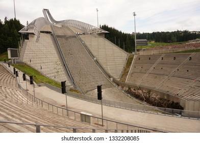 The Holmenkollen ski jump is a landmark in Oslo, Norway. 22 July 2016