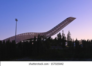 Holmenkollen ski jump in summer evening. Oslo, Norway.