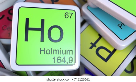 holmium ho block on the pile of periodic table of the chemical elements blocks 3d - Periodic Table Name Plate