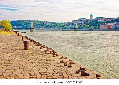 Holocaust Memorial, Buda Castle and Chain Bridge over Danube River in Budapest, Hungary