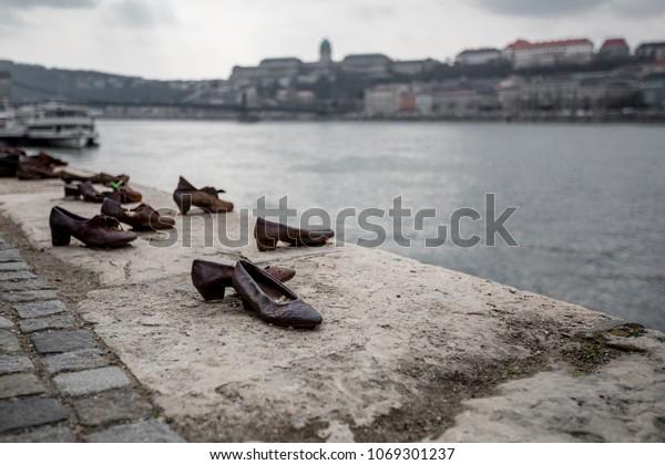 Holocaust Memorial Dedication Shoes Along Danube
