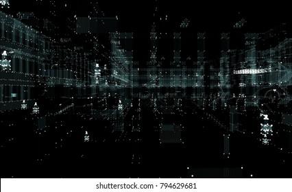 Hologram futuristic interface city. 3d illustration on black background