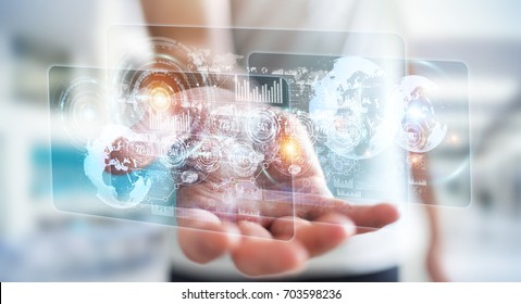 Hologram screen with digital datas used by businessman on blurred background 3D rendering - Shutterstock ID 703598236