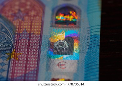 hologram of a twenty euro banknote, close up