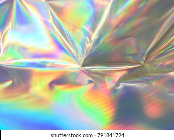 Holographic background marbleized twisted and wrinkled abstract effect foil texture with multiple colors.