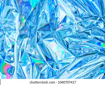 Holographic color wrinkled foil. Gradient mesh Hologram background of wrinkled abstract foil texture with bluish colors.