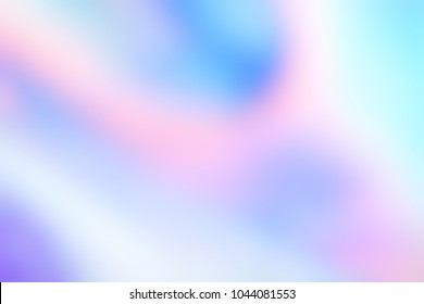 Holographic foil blurred abstract background for trendy design. Holographic sparkly cover with soft pastel colors.