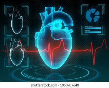 Holographic human heart in virtual reality. Futuristic diagnostic in medicine. 3d illustration.