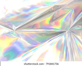 Holographic iridescent color wrinkled foil. Real Hologram Background of wrinkled abstract foil texture with multiple colors. Blue neon pastel holographics gradient mesh template background or surface