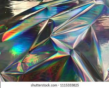 Holographic iridescent gradient wrinkled foil. colorful vivid background.