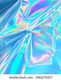 Holographic iridescent metallic gradient mesh wrinkled foil with pastel colors.