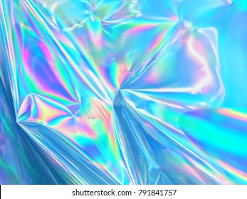 Holographic iridescent surface wrinkled foil pastel. Real Hologram Background of wrinkled abstract foil 80s texture with multiple colors. 90s aqua menthe cyan pastel holographic gradient mesh template