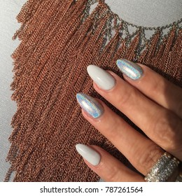 Holographic Nails (Almond Shapped Nails)