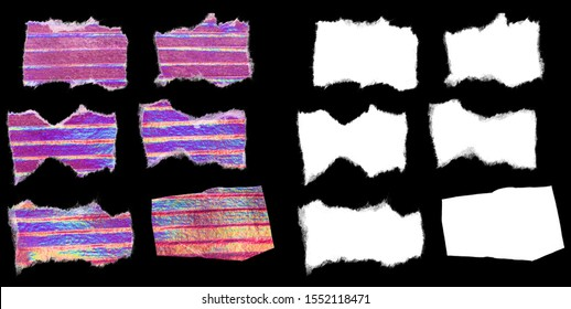 holographic paper glitter stickers with alpha mask and teared edges for your cut outs or poster idea