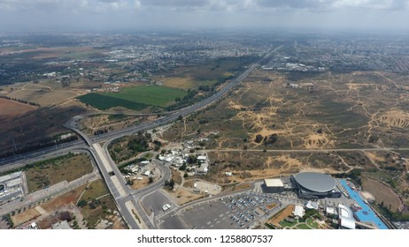 Holon east interchange, road no. 4 over Holon city, with Rishon Lezion in the background