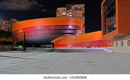 Holon ISRAEL 18.02.2019 : Design Museum Holon is museum in Israel. The building of the museum was planned and designed by Israeli architect and industrial designer Ron Arad