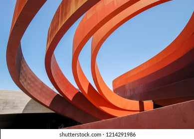 HOLON, ISRAEL - 22 MAY, 2011: Colored bronze bands of Design Museum Holon