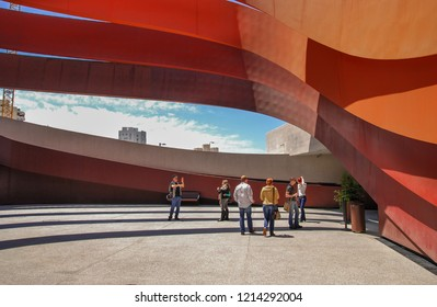 HOLON, ISRAEL - 22 MAY, 2011: Visitors inside the Design Museum Holon