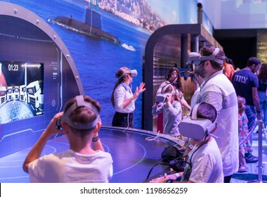 """Holon, Israel, 27 September, 2018 : Visitors use modern army 3D modeling and virtual reality tools at the army exhibition """"Our IDF"""""""
