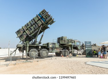 """Holon, Israel, 27 September, 2018 : Army truck with a launcher installed on it with Patriot missile warfare at the army exhibition """"Our IDF"""""""