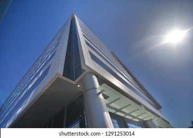 HOLON, ISRAEL April 17, 2017 The corner of modern high-rising business building by the blue sky 10mm