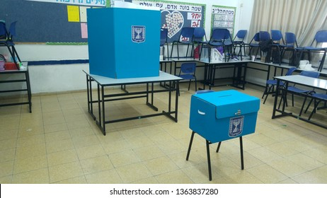 HOLON, ISRAEL. April 9, 2019. Electoral booth and electoral box in a school class during the Israel national elections to the Knesset. Israel parliamentary elections 2019