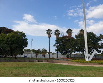 HOLON, ISRAEL. December 7, 2019. A general view of a monument to the fallen soldiers at the Ha-Lokhamim Kikar Kugel Square in Holon.